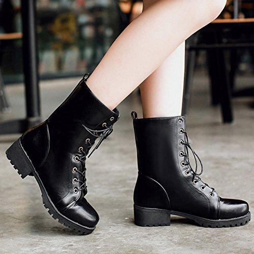 Mee Shoes Damen warm gefüttert chunky heels Plateau Martin Boots Schwarz