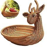Jiali Rattan Intrecciato a Mano Decorativo Lovely Frutta Verdura Pane Picnic Food Organizer Rattan-Woven Cestino