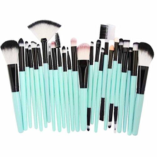 Ensemble de pinceaux de Maquillage,Honestyi 18 pcs Outils de Maquillage Trousse de Toilette Professionnelle (25 pcs Vert)