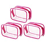 3pcs Clear Transparent Waterproof Plastic Travel Cosmetic Bag for Vacation Bathroom and Organizing With Handle Zipper