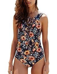 Monokini Mujer Push-up con Cuello en V con Relleno Acolchado Traje de Baño de Una Pieza Bikini 1010