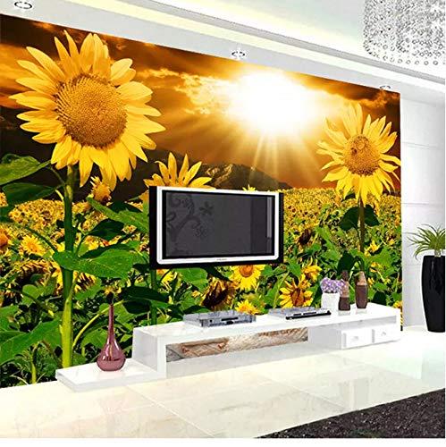 Benutzerdefinierte 3D Wandbild Fototapete Schöne Sonne Licht Blume Sofa Wohnzimmer Schlafzimmer Tv Hintergrund Wand Seidentuch Home Decor450 (W) X300 (H) Cm -