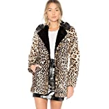 Biback Women's Leopard Faux Pelzmantel Mid-Länge Winter Oberbekleidung mit Langen Ärmeln Warme Jacke Sexy Revers Mantel für Christmas Party Club Cocktail