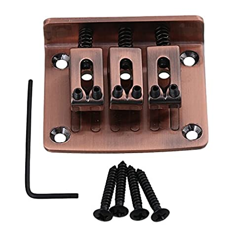 yibuy 50x 40x 14mm Bronze verstellbar Elektrische Gitarre Brücke Saitenhalter für 3String Zigarre Box Gitarre
