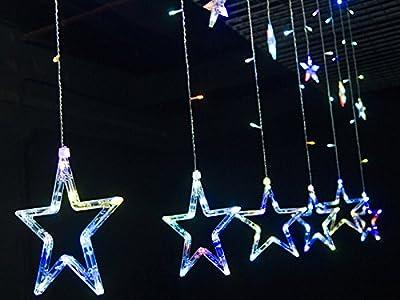 Homedecoam LED Sternenvorhang mit 138 LED-Lichter AC 220V 200cmx 60cm/ 200cmx 100cm Weihnachtlicher Lichtervorhang Lichterkette Stern Weihnachtsdekoration Dekoleuchte Dekolicht