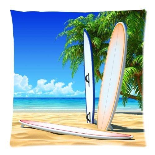 Jtartstore playa tabla de surf 18x 45,72cm cuadrado decorativo funda para cojín de lino y algodón manta funda de almohada un lado