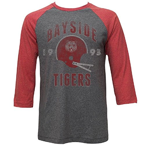 Saved by the Bell Bayside Tigers Adult Rusty Red/Gray Raglan T-shirt (XX-Large) (Bell Bayside Tigers)