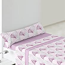 Burrito Blanco - Juego de Sábanas Coralina 947 para cama 90x190/200 cm, color malva