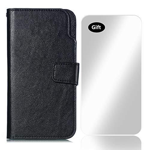 Bear Village Funda iPhone 6, Funda de Cuero [9 Ranuras para Tarjetas y Moneda] con Protector de Pantalla de Vidrio Templado Gratis para Apple iPhone 6 / iPhone 6S (#3 Negro)