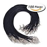 ULTNICE 100PCS Corda di cera cavo della collana con catenaccio per monili che fanno il nero di 2.0mm