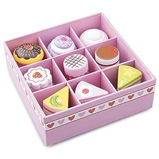 Unbekannt Kuchen Set Mit 9 Verschiedenen Kuchenstücken Aus Holz U2022 Kaufladen  Kuchen Gebäck Torte Set