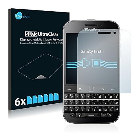 6x Savvies Film Protection pour Blackberry Classic Q20 Protection écran Film Protecteur Transparent