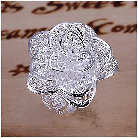 HMILYDYK gioielli da donna in argento Sterling 925, a forma di fiore rosa, Anello Eternity a fascia da matrimonio