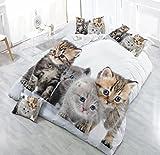 Die besten Gemütliche Bettwäsche Tröster Sets - HOHAI hohai-4Piece Katzen Tier 3D Betten Set Weiß Bewertungen