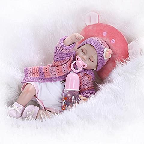 Nicery 18inch Renacido de la muñeca de silicona suave vinilo 45cm magnética Boca realista muchacha del muchacho de juguete de color rojo almohada Ojos Cerrar Reborn Doll