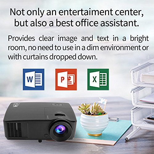 Affordable DLP Projector Full 3D 1080p Support 3600 ANSI Lumen HD Ready XGA Data Business Projectors, with a HDMI to VGA Adapter for Home Theater Cinema Outdoor Party Entertainment Office Presentation Meeting