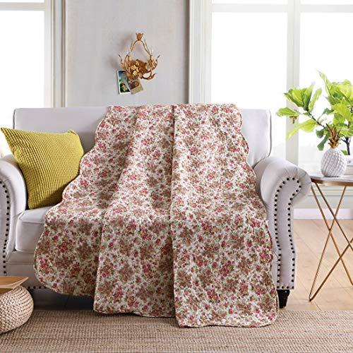 Blumen-bett-decke (Qucover Tagesdecke 7793522, Gesteppte Decke aus Baumwolle, Quilted Blanket, Bettüberwurf für Doppelbett, 200 x 230 cm Rosa mit Süßem Blumen)