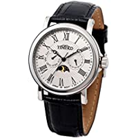 Time100 Men's Roman Numerals Sun Phase White Dial Watch