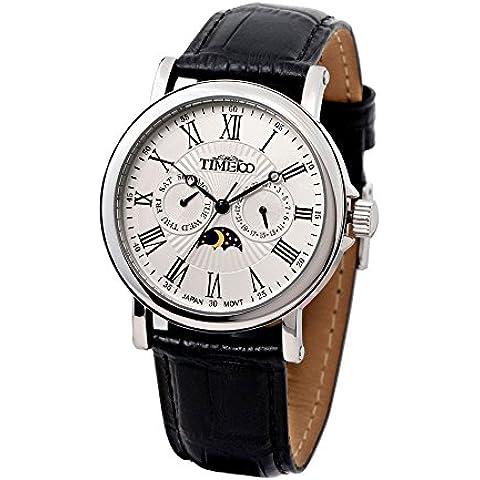 Time100 W80035G.01A - Reloj curazo para hombres, correa de ante color negro