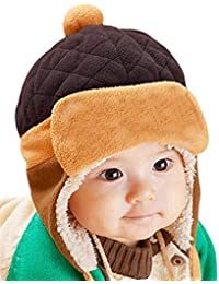 Fashion Sutra Baby Winter Warm Pilot Beanie Cap for Kids Girl's & Boy's (Brown, 01yrs-03Yrs)