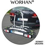 WORHAN® Porte vélo sur la boule d'attelage inclinable rabattable plateforme avec feux LED FA2