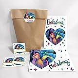 12-Set Einladungskarten, Umschläge, Tüten, Aufkleber zum Kindergeburtstag für Mädchen zwei Einhörner / Unicorn / Einhorn (12 Karten + 12 Umschläge + 12 Party-Tüten (Kreuzbodenbeutel) + 12 Aufkleber)