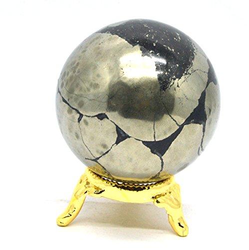 Healing Crystals India®: Natürlicher Pyrit 50–60mm Polierte Kristallkugel Metaphysische Heilung Mineralstein Feng Shui Chakra Aura Balance-Stein - Crystal Steine Heilung