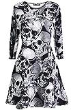 Be Jealous FEMMES HALLOWEEN Robe décontractée - Gris Multi Tête de mort, Plus Size (UK 24/26)