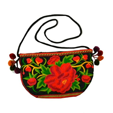 BTP! HMONG Bag Swingpack Hill Tribe Ethnic Embroidered Sling Crossbody Hippie Boho Hobo Red Floral HMSP2