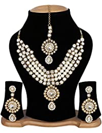 Cardinal Stylish Latest Design Traditional Kundan Necklace Set With Earring And Maang Tika For Women/Girls