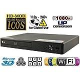 LG BP5502d/3d–DVD–CD–Reproductor de Blu-Ray Wi-Fi Multi Zona Región Código Free DVD 012345678PAL/NTSC Blu Ray Zona a/b/c. MP4, XVID, AVI y MKV. 100~ 240V 50/60Hz World Wide Use (Free 2metros HDMI Cable) Negro