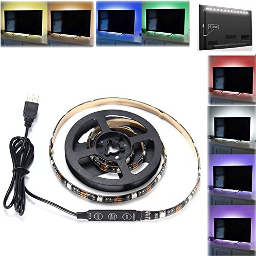 BZAHW 90 CM USB RGB SMD5050 27 LED Tira de cinta de cuerda flexible Luz TV PC Iluminación de fondo DC5V BZAHW (Color : Color:RGB Color)