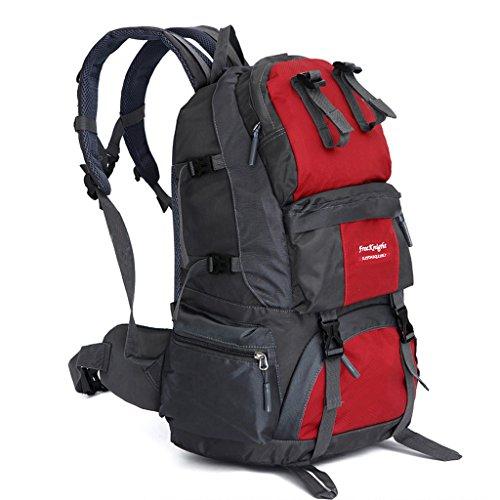 GWELL 50L Wasserdicht Wandern Klettern Rucksack Outdoor Sport Reisen Backpack Rot