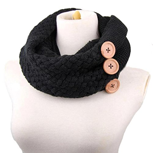 Fulltime®Femelle Écharpes, Hiver chaud Deux Cercle Cable Knit Cowl Neck Scarf Noir
