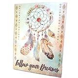 """Les Trésors De Lily [P1811] - Toile """"Boho"""" beige multicolore (Follow your dreams) - 40x30 cm"""