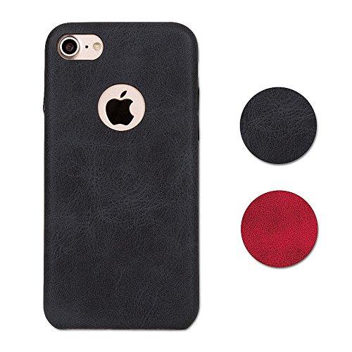Hetcher Tech Premium Schutzhülle Kunstleder für iPhone 7 und i-Phone 8 - Slim Case Cover - PU Hülle Hochwertig Modern Weich in Schwarz - Backcover Dünn Kunstlederhülle