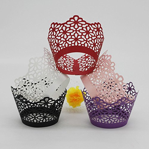 ELECTROPRIME 50Pcs Cake Wrap Cup Cupcake Wrapper 3D Muffin Paper Case Wedding Party-VLT