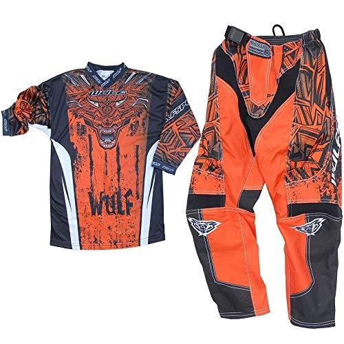 WULFSPORT AZTEC MX Bambini Tuta Moto Pantaloni e Maglia Bambini Moto Scooter ATV Quad Motocross vestito de capretti (8-10 anni, Arancione)