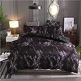 Lanqinglv Bettwäsche 200x200cm Reißverschluss Schwarz & Weiß Marmor Muster Bettwäsche 3-teilig Mikrofaser Bettbezug mit 2 Kissenbezug (Schwarz,200x200)