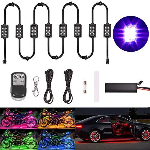 Evermotor Auto Motorrad Unterbodenbeleuchtung 8 Stücke 6x LED Streifen Atmosphäre Leichter Kits Wireless Fernbedienung Motorrad Multi Farbe Neon RGB Lampe Atemmodus Bodeneffekt