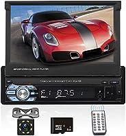 Podofo Autoradio mit Navi und Bluetooth, 1din GPS Radio mit Mirrorlink für Android, 7 Zoll Touchscreen Bildsch