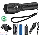 DOCOSS- 5 Modes Waterproof Rechargeable Torch Portable Cree Bright Zoom Torches Long Range