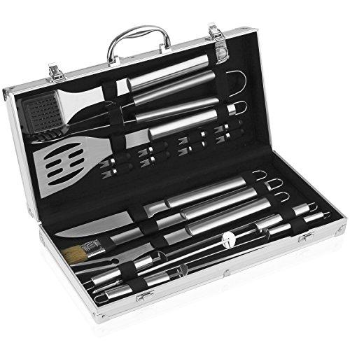 Preisvergleich Produktbild INTEY Grillbesteck Set 18-teilig aus Edelstahl Profi Barbecue Set im Aluminium Grillbesteck Koffer für Garten Feier,  Silber