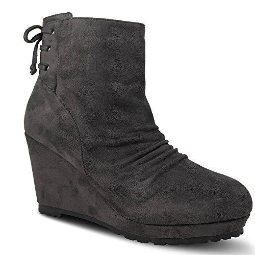 Schuhtraum Damen Stiefeletten mit Keilabsatz Boots Stiefel High Heels (37, Grau)