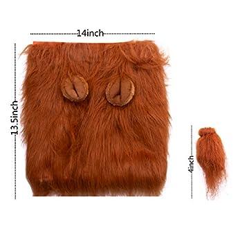 Buwant Lion crinière et queue de lion Costume pour chien Lion Perruque avec oreilles pour chiens de taille moyenne ou grande de Noël Halloween