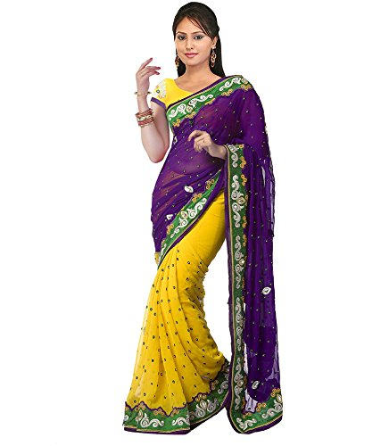 S Desai Fashion Chifon Saree (Gfs1007_Purple & Yellow)
