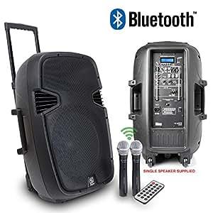 "Skytec SPJ-PA915 15"" Active Mobile PA Speaker System + Wireless Mics 700W"