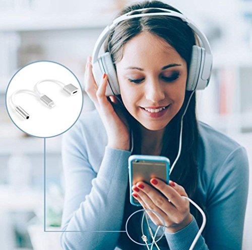 Kopfhörer Adapter für Phone 8/8Plus X 2 in 1 Beleuchtungsbuchse auf 3,5 mm Kopfhörer-Adapter für iPhone AUX-Konverter für KopfhörerbuchseSplitterkabel, kompatibel mit iOS 10.3/11.4, silberfarben - 7
