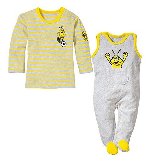 BVB Kinder Babystrampler-set 2-teilig Nicky, hellgrau/gelb, 86, 2466541 -