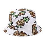 Kuyou Damen Sonnenhut Fischerhut Ananas Sommer Kappe Hüte (Weiß)